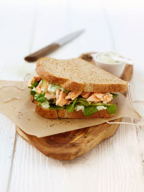 Poached Salmon and Watercress Sandwich with Basil Mayonnaise - a light sandwich